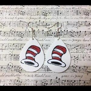 Dr Seuss Cat in the Hat faux leather earrings